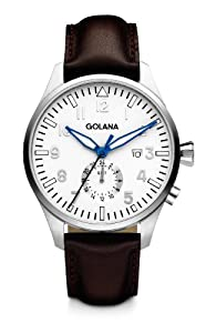 Golana Aero Gmt Men's Quartz Watch with Silver Dial Analogue Display and Brown Leather Strap AE500-3