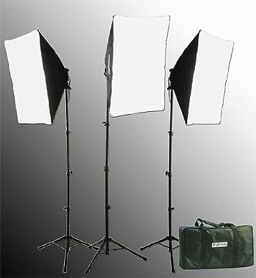 2400 Watt Softbox Lighting Kit Chromakey Green Screen Video Lighting Kit Three Softbox, 12 x 45watt Flourescent Bulb, 3 x lightstand by Fancierstudio 9004S-3