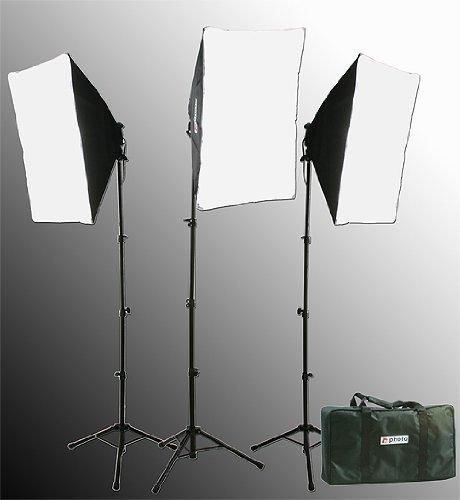 2400 Watt Softbox Lighting Kit Chromakey Green Screen Video Lighting Kit Three Softbox, 12 x 45watt Flourescent Bulb, 3 x lightstand by Fancier 9004S-3