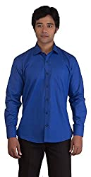 BearBerry Long Sleeve Casual Blue Shirt (Small)
