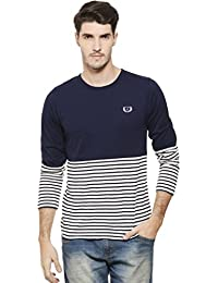 RIGO Navy Solid And Stripe Tee-Full Sleeve