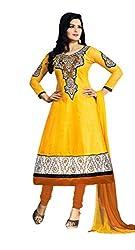 Abida Printed Rich Cotton Yellow Color Unstitched Suit
