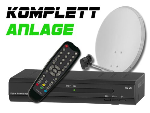 COMAG Digitale Single Satelliten-Anlage Komplett-Set SL25 (Inklusive: Digitaler Sat Receiver, Single LNB, 60er Stahlantenne, Masthalterung)