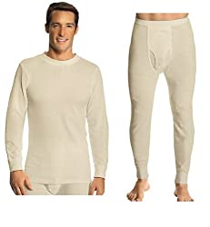 Hanes Everyday Men's Thermal Set (Long Sleeve Crew and Long Johns) - Colors Available
