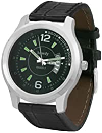 Howdy Smart Analog Green Dial Watch With Black Leather Strap With Day And Date - For Men's & Boys Ss552