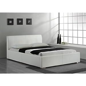 modernes bonded lederbetten modell in wei 160x200 bettrahmen matratzen gr e polsterbetten. Black Bedroom Furniture Sets. Home Design Ideas