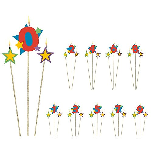 "Amscan Colorful Star Designed #9 Pick Birthday Candle, Multicolored, 7"" - 1"