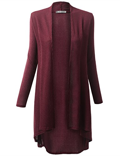 URBANCLEO Womens Ribbed Hi-Lo Open Front Long Cardigan WINE, 2XL