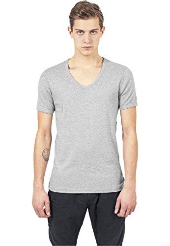 Urban Classics TB367 Slim 1BY1 V-Neck Tee T-shirt Collo V Manica Corta (Grey, L)