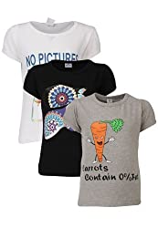 Goodway Junior Girls Stye-8- Black, White, Grey - Combo Pack of 3 T-Shirts - 5-6 Years