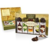 Tea Forte World of Teas Single Steeps Loose Leaf Tea Sampler, 15 Single Serve Pouches - Green Tea, Herbal Tea, Black Tea