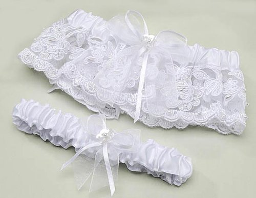 Deals White Lace Sequins & Pearls Adjustable Size Garter Set