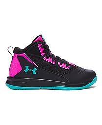 Under Armour Girls\' Pre-School UA Jet Mid Basketball Shoes 2.5 Black