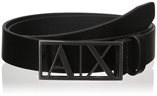 Armani Exchange Men's Framed Logo Belt, Black, 38 (Belts Men Armani compare prices)