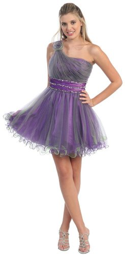 One Shoulder Cocktail Party Junior Prom Dress #810 (8, Purple/Lime)