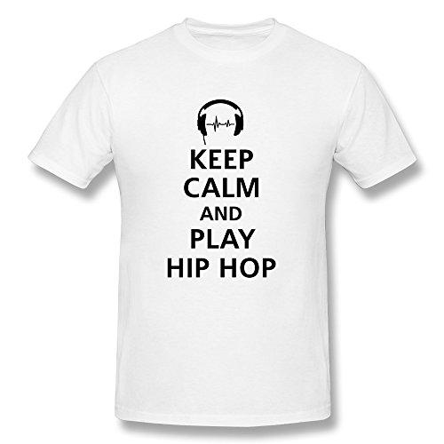 Fjsc Men'S Keep Calm Hip Hop T-Shirt White X-Large