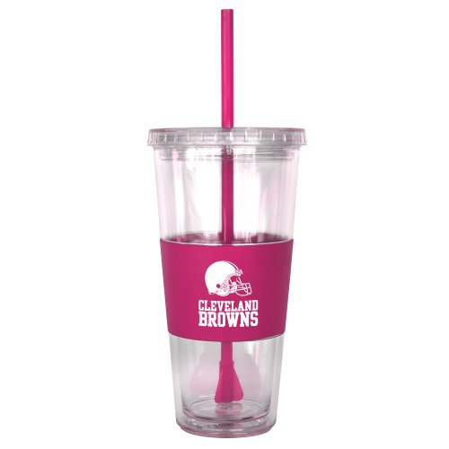 Nfl Cleveland Browns Pink Tumbler With Straw, 22-Ounce