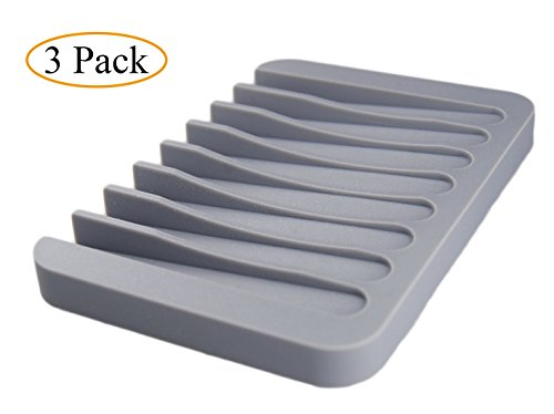 MelonBoat 3 Pack Silicone Shower Soap Dish Set, Soap Saver Holder, Rectangle Concave Grey (Self Draining Soap Dish compare prices)