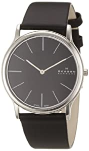 Skagen Men's 858XLSLB Black Dial, Stainless Steel Case, Black Leather Band Watch