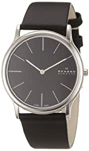 Skagen Men's 858XLSLB Black Dial, Stainless Steel Case, Black Leather Band Watch