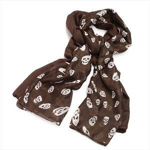 Ladies Contemporary Fashion 2pc Brown Tone Skull Scarf Set Brand New