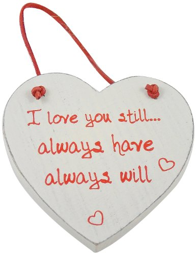 Heartwarmers 1-Piece Wood Wooden Loving Heart Keepsake Gift Hanger Sign �I Love You Still, Cream