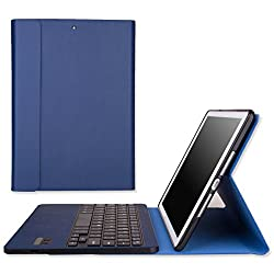 MoKo Apple iPad Air Cover Case - Portfolio Wireless Bluetooth Keyboard Case for iPad Air / iPad 5 (5th Gen) Tablet, INDIGO (With Smart Cover Auto Wake / Sleep)