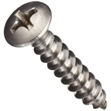 Stainless Steel Sheet Metal Screw, Oval Head, Phillips Drive