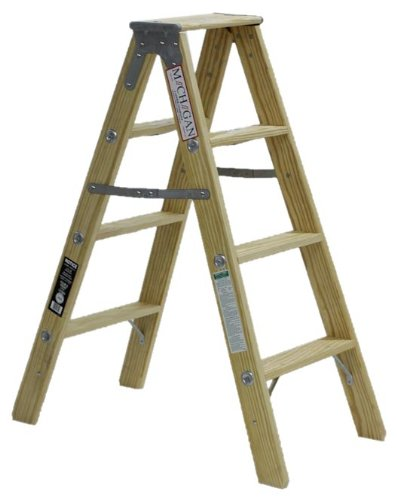Michigan Ladder 1370-04 300 Pound Duty Rating Type 1A Tradesman Wood Double Front Stepladder, 4-Foot