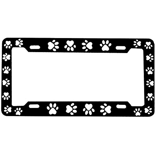 Black and White Animal Paw Print License Plate Frame