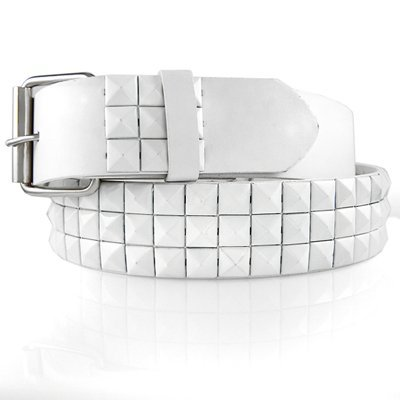 GENUINE LEATHER SNAP ON WHITE STUDDED BELT WITH A DETACHABLE BUCKLE FITS ANY BUCKLE