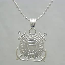 US Coast Guard 925 Sterling Silver Necklace - United States Military Jewelry Pendant - Gifts For Men And Women - USCG 1790 Charm On Chain - Armed Forces Emblem - USCG Items (24\