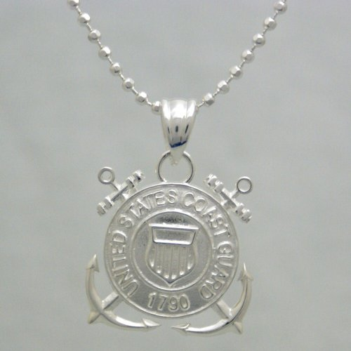 """Us Coast Guard 925 Sterling Silver Necklace - United States Military Jewelry Pendant - Gifts For Men And Women - Uscg 1790 Charm And Chain - Armed Forces Emblem - Uscg Items (20"""" Chain And Pendant)"""