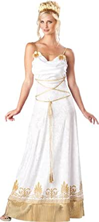 InCharacter Costumes, LLC Grecian Goddess Dress, White/Gold, Small