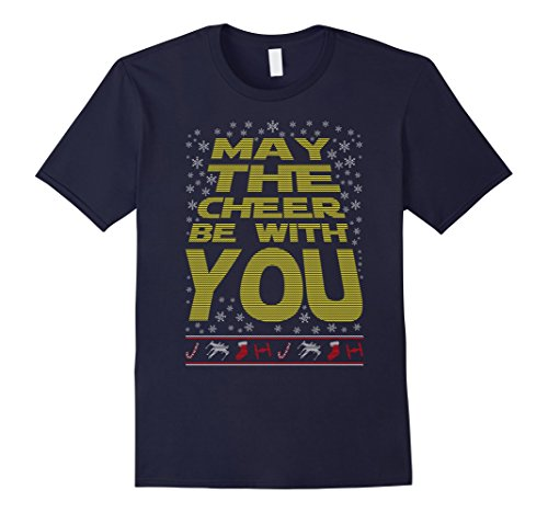 [Men's May The Cheer Be With You Xmas Christmas Ugly Tee Funny Gift 2XL Navy] (Father Son Star Wars Costumes)