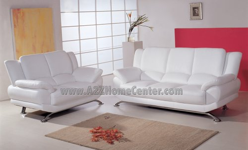 Picture of ModernLineFurniture Elegant Contemporary White Leather Sofa Loveseat Set (9908Wsl) (Sofas & Loveseats)
