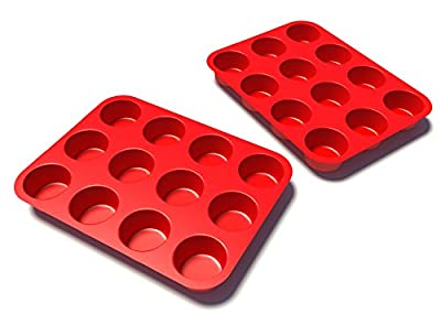 Silicone Mini Muffin pan Cupcake Baking Pan Tray -24 Cup -100% Pure Food Grade Non-stick Silicone - BPA-free Food Grade Silicon Mold Material with Heat Resistant upto 450° F!