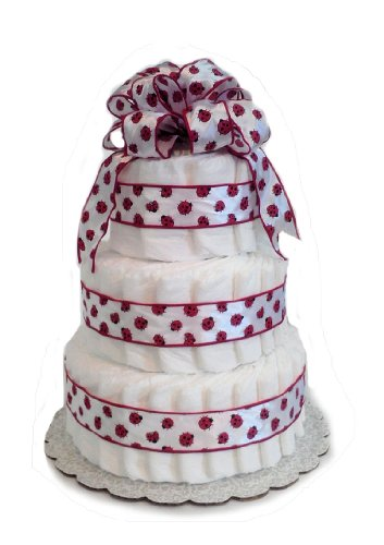 Ladybug Red and White - Baby Shower Diaper Cake/ Centerpiece (3 Tier)