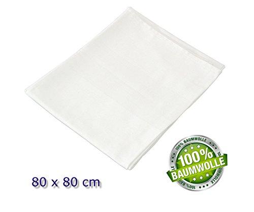 universal Tisch Decke Tischdecke Mitteldecke, 80 x 80 cm, weiß - 100 % Baumwolle - waschbar bei 95 °C