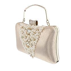 Generic Wedding Diamante Pearls Clutch Hand Bag Bridal Multi-purpose Purse Handbag - gold, /