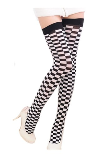 SACAS Sexy Stretchy Over the Knee High Black White Checkers Tights XS ~ M