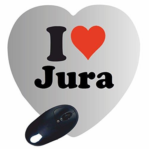 """EXKLUSIV: Herz Mousepad """"I Love Jura"""" in Weiss, eine tolle Geschenkidee für deinen Partner, Arbeitskollegen und viele mehr! -Mauspad, Handauflage, Rutschfest, Gamer/ Gaming, Pad, Windows, Mac, IOS, Funartikel, Spass, Computer, Laptop, Notebook, PC, Tablet-PC, Büro."""