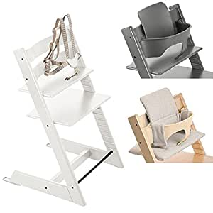 stokke white tripp trapp chair w grey loom cushion baby set storm grey baby. Black Bedroom Furniture Sets. Home Design Ideas
