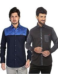 Apris Mens Casual Combo Shirts-BLUE-BLACK (3143-3208) (L)