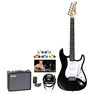 Silvertone SS15-BK-KIT-2 Revolver SS15 Black Electric Guitar with Tuner, Cable, Pick Sampler and Amp