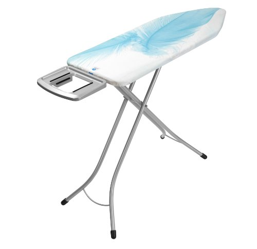 Brabantia Ironing Board with Solid Steam Iron Rest, Size C, 124 x 45cm, 25mm Metallic Frame, Feathers Cover
