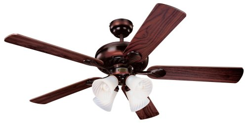 Westinghouse 78568 Swirl Four-Light 52-Inch Five Blade Ceiling Fan, Rustic Bronze with Frosted Swirl Shades (Small Rustic Ceiling Fan compare prices)