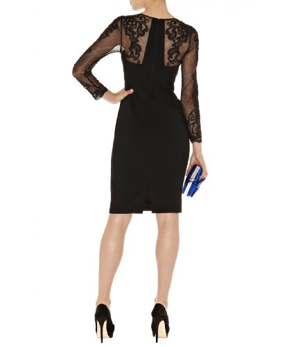 Lace Sleeve Pencil Dress Black