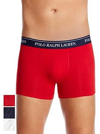 RALPH LAUREN UNDERWEAR - Boxers - Homme - Lot de 3 boxers blanc, marine et rouge en coton Stretch - S