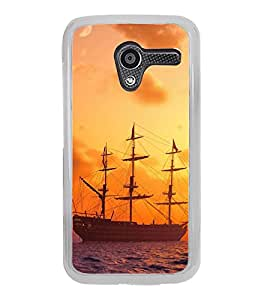ifasho Ship in See at sunset Back Case Cover for Moto X